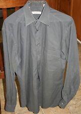 ERMENEGILDO ZEGNA Men's Cotton Dress Shirt 15 Medium gray Point Collar Small 38