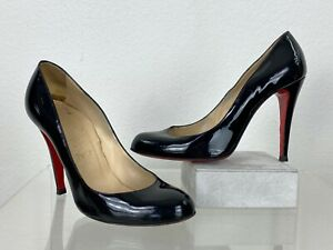 Christian Louboutin Runway 9 US 39.5 EU Fifi 100 Black Patent Leather Heel Shoes