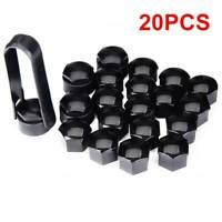 20x 17MM ALLOY WHEEL NUT BOLT COVERS CAPS UNIVERSAL SET BLACK FOR ANY CAR