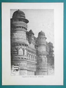 INDIA Facade of Palace at Gwalior - 1877 Wood Engraving Illustration