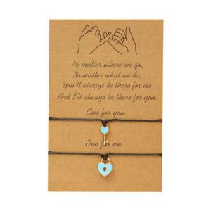 Key & Lock Friendship Lover Couple Charm Card Wish You Me Promise Bracelet Gift