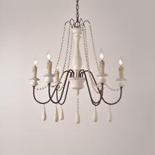 Vintage White 6-Light Wooden Chandelier Lighting Kitchen 1-Tier Ceiling Lamp E14