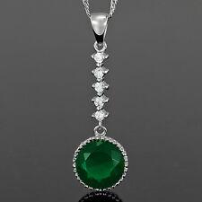 6f7abb562df5 Sarotta joyería impresionante Corte Redondo Verde Esmeralda Colgante Collar  Cadena De Moda