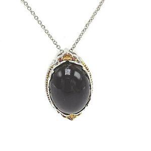 Michael Valitutti Chocolate Amber Sterling Palladium Silver Necklace