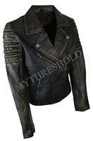 Womens Vintage Distressed Biker Leather Jacket
