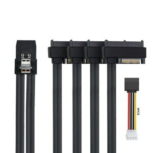 Jimier Mini SAS SFF-8087 to 4 SFF-8482 Target SAS Hard Disk and IDE Power Cable