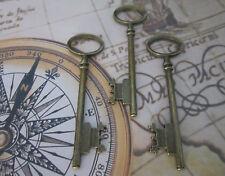 Steampunk Antique Bronze Skeleton Keys Wedding Vintage Pendants Charms UK 3X