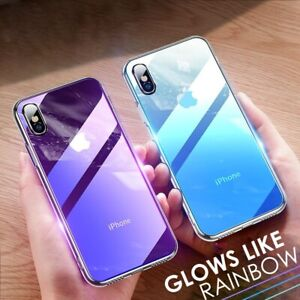 Tempered GLASS Back Luxury Gradient Case Cover For iPhone XR 7 8 PLUS X XS MAX