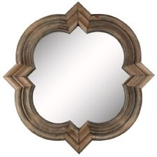 Mirror Quatrefoil Ornate Shape in Natural Wood Frame with 2-Sawtooth Hangers