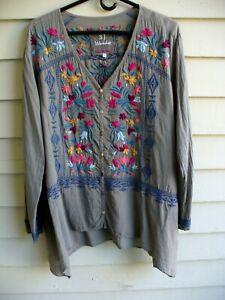 3J Workshop Johnny Was 100% cotton blouse XL gray