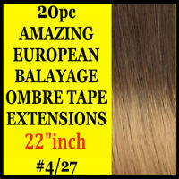 TAPE SKIN WEFT 4/27 BALAYAGE OMBRE REMY HUMAN HAIR EXTENSIONS Brown Blonde 20PC