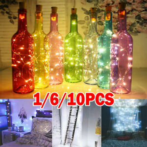 Wine Bottle Fairy String Lights 10/20 LED Battery Cork Christmas Wedding Party