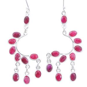 Oktoberfest Sale 17.55cts Natural Red Ruby Chandelier Earrings Jewelry P27227