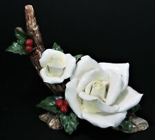 Always Forever Holiday White Rose Porcelain Figurine Christmas Floral Holly