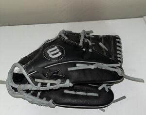 "Wilson A360 Youth 12"" Fielder Baseball Glove Black/Gray LeatherRHT NICE NM"