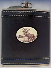 Barlow Leather Pocket Flask Stainless Steel 7 oz Moose 272609 New