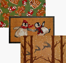 Coir Mat Natural Quality Hard Wearing Christmas Xmas Designs 75 x 45cms