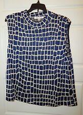 New St John Royal Blue Black White Knit Sleeveless Sweater sz L USA