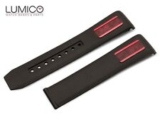 For 20mm OMEGA SeaMaster ETNZ Diver BLACK RED Rubber Strap Watch Band Buckle
