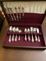 48 Piece Rogers Bros REMEMBRANCE Silver Plate Flatware Spoons Knives Forks, Box