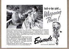 1954 Print Ad Evinrude Quiet Outboard Motors Baby Sleeps in Boat