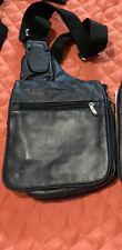 New listing Travelon Messenger Style leather shoulder bag Navy blue