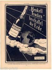 """HENKELL secco adombrava la terra-spumante-INSEGNE-stampa - Monaco """"gioventù"""" 1905"""