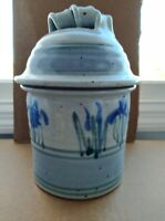 Large Beautiful Iris Themed Stoneware Pot With Lid  Pottery Cookie Jar, SIGNED!