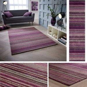 Carter Berry Purple Plum Rug Runner ALL SIZES 100% Wool Stripe Pattern Striped