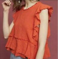 ANTHROPOLOGIE Maeve Women's Ruffle Orange Darling Tank Top Size 4/6