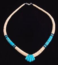 Native American Handmade Turquoise, Onyx and Shell Bead Necklace