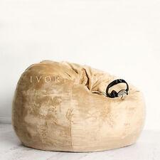 FUR BEANBAG LARGE Champagne Velvet Cover Cloud Chair Bean Bag for Lounge Rumpus