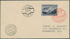LIECHTENSTEIN #C8 1931 ZEPPELIN FLIGHT COVER TO NEW YORK XF BR9594