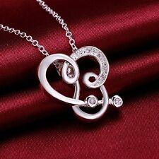 plata de ley 925 Zirconia Colgante /Collar Cadena de corazón STRASS joya cadena