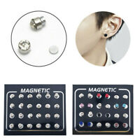 12 Pair Mens Women Non Piercing Ear Stud Clip On Round Magnetic Earrings Set