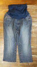 Womens Oh Baby Maternity Jeans Capri Pants Dark Wash Cropped Bottoms Sz Medium