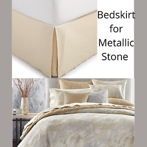 NIB $135 Hotel Collection Metallic Stone Full/Queen Bedskirt in Gold #D50