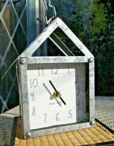 Rae Dunn Clock RARE METAL Galvanized CLOCK  House Shape