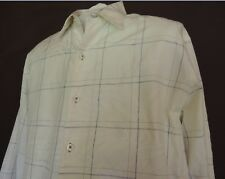 Tommy Bahama White Navy Jacquard Silk Cotton Long Sleeve Shirt Mens Large L