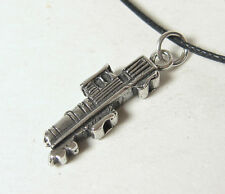 Train Engine Charm Pendant Necklace .925 Sterling Silver Mens Jewelry Locomotive