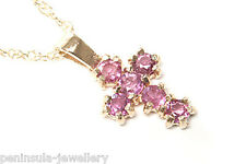 "9ct Gold Ruby Cross Pendant and 18"" Chain Gift Boxed Necklace"