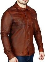 Mens Shirt Jacket Rustic Brown Soft Genuine Lambskin Washed Waxed Leather Shirt