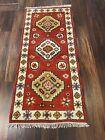 On Sale  Hand Knotted Indo Kazak Oushak Geometric Area Rug Carpet 2'x4',N10