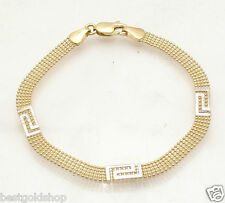 "7.25"" 5 Row Ball Chain Bracelet Greek Key Stations REAL 14K Yellow White Gold"