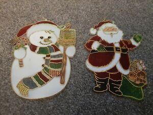 Santa Snowman Window Decorations. Retro. Plastic.