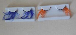 royal blue or orange false eyelashes delicate feathers fashion eyelashes