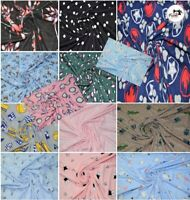 """Premium Soft Printed DTY Brushed Jersey Cotton Fabric, 14 Designs 60"""" Wide"""