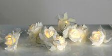 Lichterkette Big Rose 10 Blüten weiß mit Organza LED Deko Hochzeit NEU