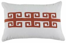 Ashley Furniture Pillow Traditional Greek Key Pattern Pillow In Coral NEW