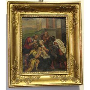 Antique 18th Rare France Original Nativity Oil copper Painting